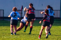 Louise McCleery puts in a big hit against Tullamore's hooker. Photo: Stephen Kisbey-Green