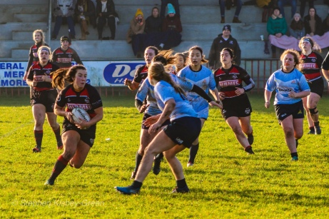 Nikki Gibson prepares to tackle one of the Tullamore attackers. Photo: Stephen Kisbey-Green