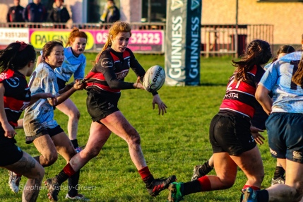 Tullamore showing good offloading game against DCU. Photo: Stephen Kisbey-Green