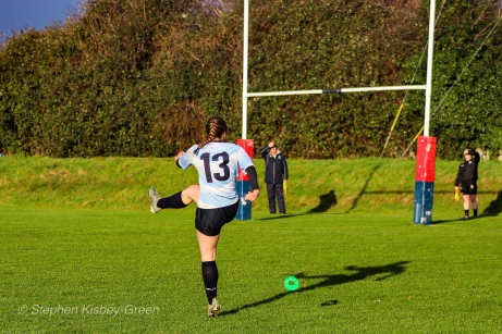 Leah Reilly attempting to convert DCU's first try against Old Belvedere RFC. Photo: Stephen Kisbey-Green