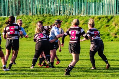 DCU crash the ball into contact against Old Belvedere RFC. Photo: Stephen Kisbey-Green