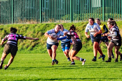 DCU on the attack against Old Belvedere RFC. Photo: Stephen Kisbey-Green