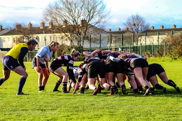 Scrum time for DCU LRFC and Old Belvedere RFC. Photo: Stephen Kisbey-Green