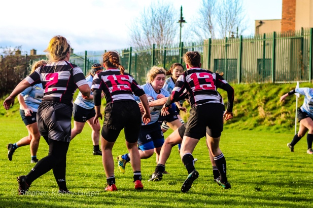 Niamh Tester crashes the ball into contact against Old Belvedere RFC. Photo: Stephen Kisbey-Green