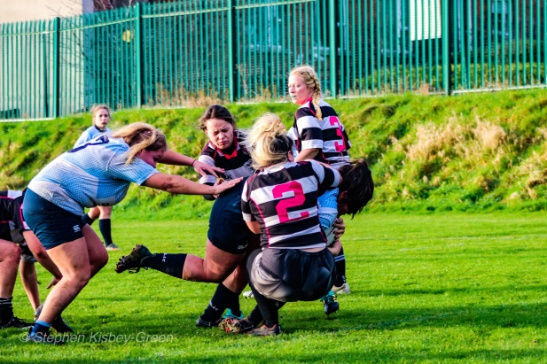 Casey O'Brien crashes over the tryline for DCU against Old Belvedere RFC. Photo: Stephen Kisbey-Green
