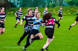 Leah Reilly on the attack for DCU against Old Belvedere RFC. Photo: Stephen Kisbey-Green