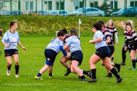 A massive tackle from DCU on Old Belvedere RFC. Photo: Stephen Kisbey-Green
