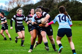 Old Belvedere RFC looking to break through DCU's defense. Photo: Stephen Kisbey-Green