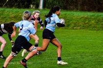 Eimear Corri on her way to the tryline against Old Belvedere RFC. Photo: Stephen Kisbey-Green