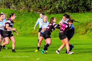DCU crashing the ball up against Old Belvedere RFC. Photo: Stephen Kisbey-Green