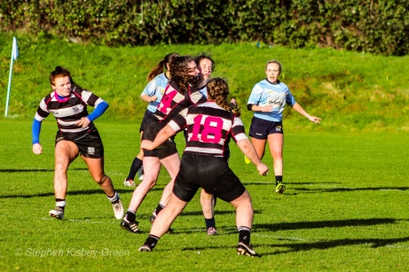 A massive hit between DCU and Old Belvedere RFC resulting in a clash of heads. Photo: Stephen Kisbey-Green
