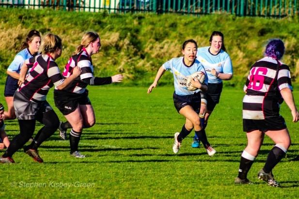 Kirara Kiyasha on the run against Old Belvedere RFC. Photo: Stephen Kisbey-Green