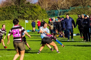 Louise McCleery looking to beat the Old Belvedere RFC defender close to the tryline. Photo: Stephen Kisbey-Green