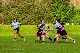 DCU string together some passes in the backline against Old Belvedere RFC. Photo: Stephen Kisbey-Green