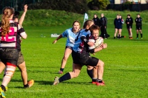 Jane Waters puts in a big tackle against Old Belvedere RFC. Photo: Stephen Kisbey-Green
