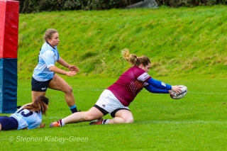 Tullow RFC scoring one of their tries against DCU LRFC. Photo: Stephen Kisbey-Green