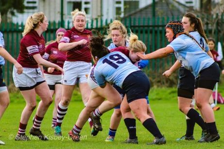 Casey O'Brien putting in the effort on defense against Tullow RFC. Photo: Stephen Kisbey-Green