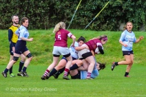 Casey O'Brien and Hannah Heskin team up on defense against Tullow RFC. Photo: Stephen Kisbey-Green