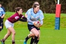 DCU Ladies captain Hannah Heskin was dominant on attack and defense, helping her side to victory over Tullow RFC. Photo: Stephen Kisbey-Green