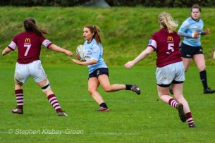 Louise McCleery makes a run from the back of a ruck against Tullow RFC. Photo: Stephen Kisbey-Green