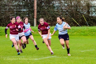 Kirara Kasahara was full of running from fullback against Tullow RFC. Photo: Stephen Kisbey-Green