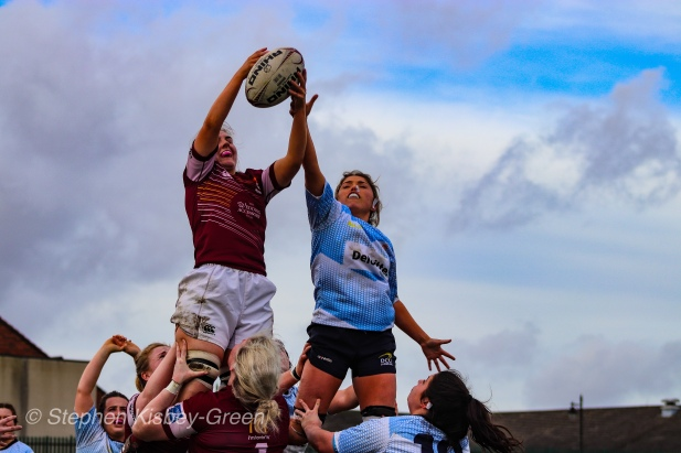 Zoe Valentine competes at the lineout for DCU against Tullow RFC. Photo: Stephen Kisbey-Green