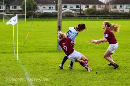 Kirara Kasahara is taken out of play by some brilliant Tullow RFC cover defense, agonizingly close to the try line. Photo: Stephen Kisbey-Green