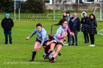 S. Smyth making a run up the wing with Hannah Heskin in support. Photo: Stephen Kisbey-Green