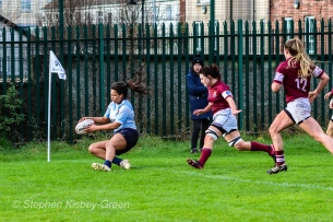 Eimear Corri dots the ball down in the corner for her second try against Tullow RFC. Photo: Stephen Kisbey-Green
