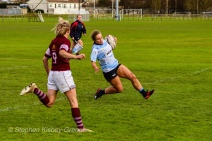 Leah Reilly scores one of DCU's six tries against Tullow RFC. Photo: Stephen Kisbey-Green