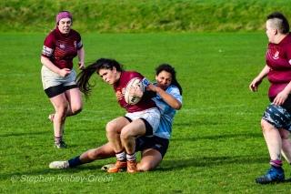 Eimear Corri makes a good cover tackle to halt Tullow's run. Photo: Stephen Kisbey-Green