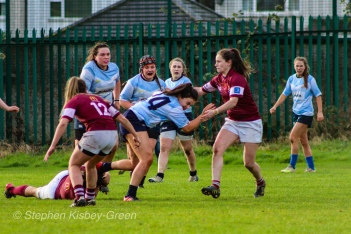 A good run from DCU's S. Smyth is halted by Tullow RFC. Photo: Stephen Kisbey-Green