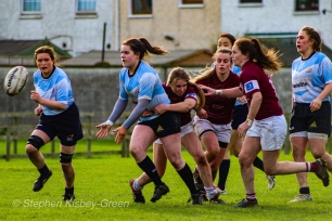 Hannah Heskin offloads the ball to a teammate against Tullow RFC. Photo: Stephen Kisbey-Green