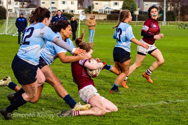 Eimear Corri and Hannah Heskin are unable to stop Tullow RFC from scoring out wide. Photo: Stephen Kisbey-Green