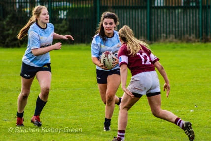 Both DCU and Tullow RFC made a number of strong breaks against equally strong defense. Photo: Stephen Kisbey-Green