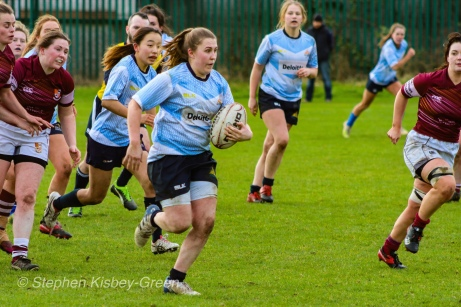Maeve Donohue on the attack against Tullow RFC. Photo: Stephen Kisbey-Green