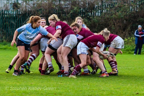 Louise McCleery looks to defend around the scrum, as Tullow RFC clear the ball out the back. Photo: Stephen Kisbey-Green