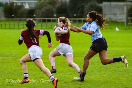 Eimear Corri tracks down Tullow RFC's wing, shutting down a spectacular break. Photo: Stephen Kisbey-Green