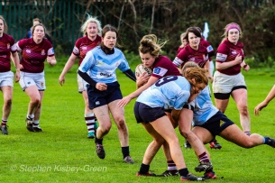 Louise McCleery and Leah Reilly defend against Tullow RFC, shutting down a strong attack. Photo: Stephen Kisbey-Green