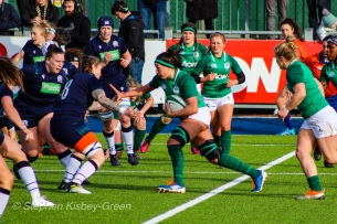 Nichola Fryday leads the attack for Ireland against Scotland. Photo: Stephen Kisbey-Green