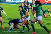 Lindsay Peat charges forward for Ireland against Scotland. Photo: Stephen Kisbey-Green