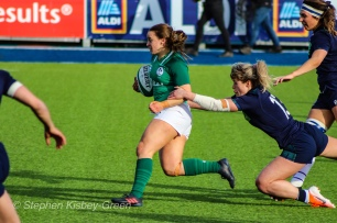 Irish rugby in the attack against Scotland. Photo: Stephen Kisbey-Green