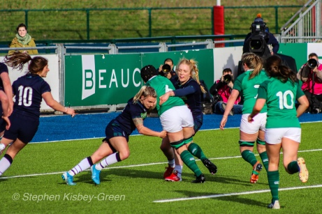 Ciara Griffin is stopped just short of scoring against Scotland. Photo: Stephen Kisbey-Green