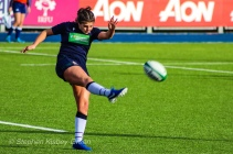 Helen Nelson kicks for touch after being awarded a penalty against Ireland. Photo: Stephen Kisbey-Green
