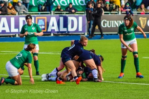 Mairi McDonald clearing the ball out of the back of a ruck against Ireland. Photo: Stephen Kisbey-Green