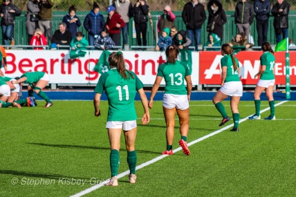 The Irish backline lined up, ready for the ball to come out of the scrum. Photo: Stephen Kisbey-Green