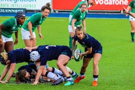 Mairi McDonald looks to clear the ball out of the ruck. Photo: Stephen Kisbey-Green