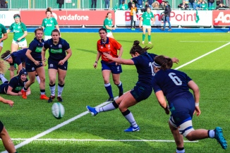 Helen Nelson puts boot to ball against Ireland, attempting to capitalize on the space behind Ireland's rush defense. Photo: Stephen Kisbey-Green