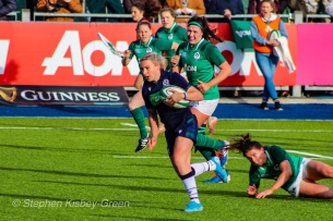 Scotland making a long and powerful run against Ireland. Photo: Stephen Kisbey-Green