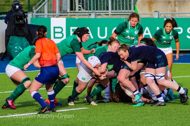 Scotland look to crash the ball up against Ireland, being stopped just short of the try line. Photo: Stephen Kisbey-Green